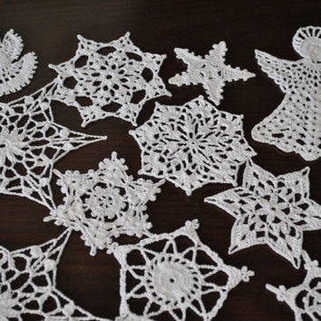 Crochet Snowflakes,set of 15,Crochet snowflake,Christmas decoration,Winter Hanging ornament,Wedding Gift,Crochet ornaments,Handmade ornament