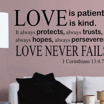 Vinyl Wall Lettering LARGE Love is Patient Love is Kind Quotes Decals