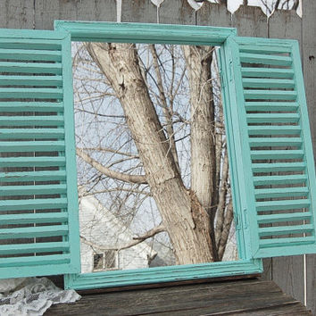 Mirror, Shutter Mirror, Wood, Window, Mint Green, Hand Painted, Shabby Chic, Rustic, Hanging, Wall, Wedding, Beach Decor, Custom Color
