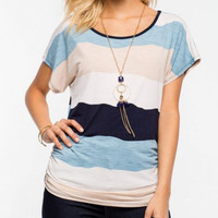 New Summer fashion Sexy  women Stripe Pattern short sleeve T-shirt -0710