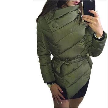2016 winter jacket women Down Jacket   coat irrgeular high collar with belt parkas for women winter colors warm outerwear coats
