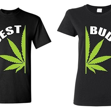 Couple Matching Best Buds Pot Leaf T-shirt Marijuana Weed