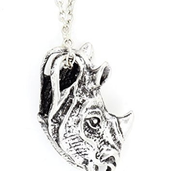 Rhinoceros Necklace Vintage Silver Tone Rhino African Safari Animal Pendant NQ25 Fashion Jewelry