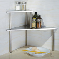 Cook N Home 2-Tier Corner Storage Shelf, Stainless Steel | Overstock.com