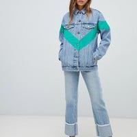 ASOS DESIGN denim jacket with chevron color block at asos.com