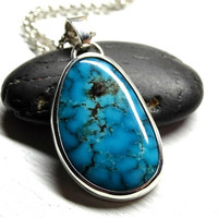 natural Bisbee turquoise pendant silver, blue turquoise necklace men turquoise pendant, rare turquoise pendant, mens necklace Birthstone