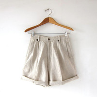 Vintage Linen Shorts. High Waist Shorts. Pleated Shorts. Natural Oatmeal. Minimalist.