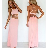 Janecrafts Women Sexy Paghetti Strap Backless Bare Midriff Cocktail Party Club D...