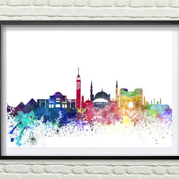 Cairo, Egypt Skyline Print, Watercolor Art, Cairo Art, City Poster, City Skyline, Wall Art Cityscape, Home Decor *9*