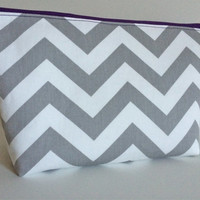 Extra Large Cosmetic Case Toiletry Bag Travel Bag Makeup Bag in Purple and Gray Chevron