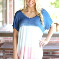 Ombre Tunic - Blue and Blush