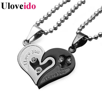 Mens Stainless Steel Chain Black White Heart Love Necklaces for Couples Paired Suspension Pendants for Men Women 9 Colors SN102