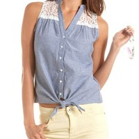 Tie-Front Chambray Tank: Charlotte Russe