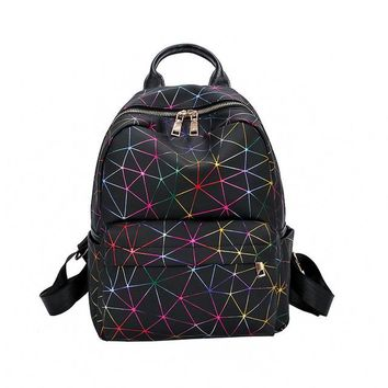 Student Backpack Children Women Backpack Geometric Plaid Students Backpacks For Teenage Girls Bagpack pu Leather Bag Holographic School Backpack AT_49_3