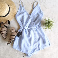 reverse - too soon romper - blue/white stripe