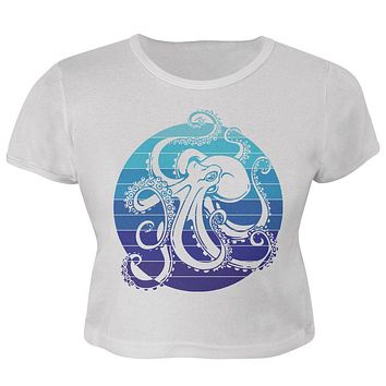 Kraken Octopus Ocean Retro Sunset Circle Juniors Crop Top T-Shirt