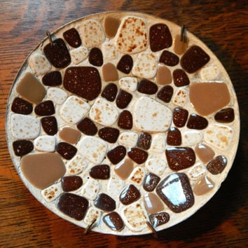 Cute Mid Century Modern Eames Era Mosaic Tile Ashtray or Plate / Bowl - Looks like S'mores