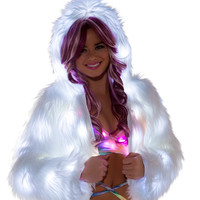 White Light-Up Fur Cropped Jacket