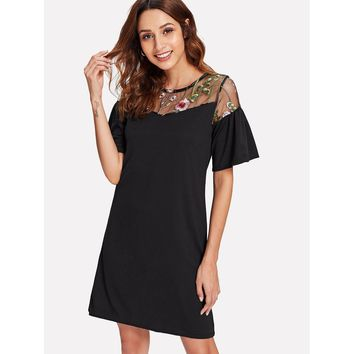 Embroidery Sheer Mesh Panel Dress