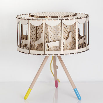 DIY Gift Idea Circus Lamp for Child Room Carousel Table Lamp Housware Lighting or Nursery Decor Rotating Lamp Carousel with Horses