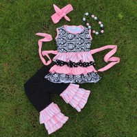 Full stock cute girls suit kids boutique-remake-clothing-sets girls ruffle capri sets girls damask rose necklace and headband