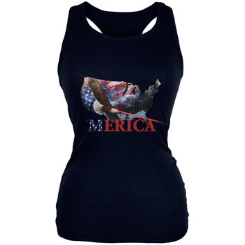MERICA Laser Eagles Black Juniors Soft Tank Top