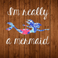 I'm Really a Mermaid Vinyl Decal, Lilly Pulitzer Mermaid Decal, Lilly Pulitzer Vinyl Decal, Mermaid Car Decal, Mermaid Laptop Sticker