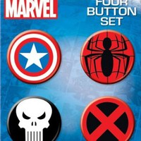 Ata-Boy Marvel Comics Logo Assortment 4 Button Set