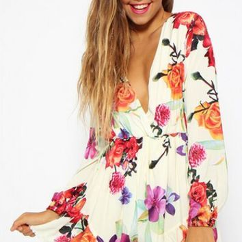 Print  Long Sleeve Romper