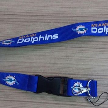 1pc/lot Cheap Miami Dolphins Lanyard ID Badge Holder Breakaway Clip Keychain