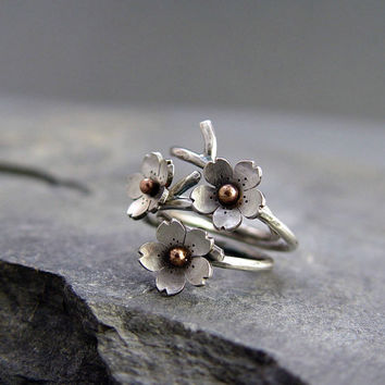 Cherry Blossom Branch Adjustable Ring in Silver, Spring Jewelry, 1 ring MADE to ORDER, Plum blossom, Twig Jewelry, Branch Ring,
