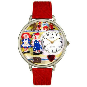 Whimsical Unisex Raggedy Ann-Andy Navy Blue Leather Watch