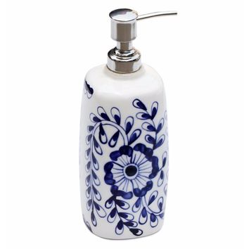 Hand Painted Floral Design Liquid Soap Or Lotion Dispenser Holder By Benzara