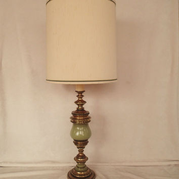 Table Lamp Green Enameled Brass Hollywood Regency, mid century, antique satin original matching Vintage lamp shade