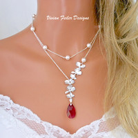 Red Necklace ORCHID Jewelry PEARL Double Strand Ruby BRIDAL Wedd - Vivian Feiler Designs | Wedding
