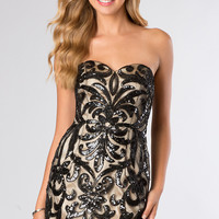 Short Strapless Sweetheart Sequin Dress