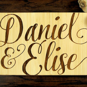 Personalized Script Names Cutting Board, Wedding Gift, Housewarming Gift, Engagement Gift, Bride and Groom, Christmas Gift