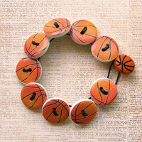 Basketball Wooden Button Bracelet - Small