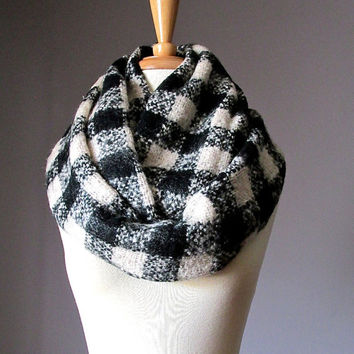 Winter scarf, plaid infinity scarf, check scarf, black and white scarf , super chunky scarf