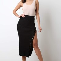 High Waisted Ribbed Knit Button-Up Midi Skirt