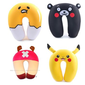 Anime U Pillow Kawaii Gudetama Pikachu Totoro Stitch Chopper Nano Particle Comfort Neck Travel Rest Cushion