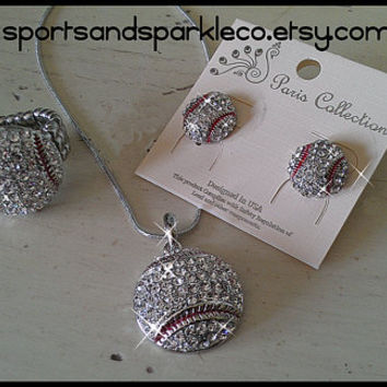 Baseball Bling Stretch Ring, Necklace and Stud Earrings Set