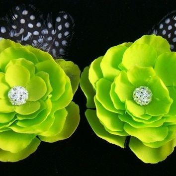 Set of 2 Apple Green Flowers with Rhinestone Centerpiece and Feathers