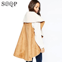SCQP Irregular Woman Vest Winter 2015 New Floacking Office Women's Sleeveless Jacket Turn Down Collar Spring Vests For Women