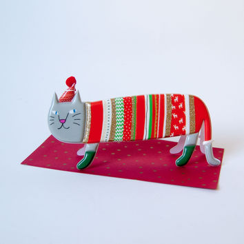 Puffy Christmas Sweater Cat Card - Default