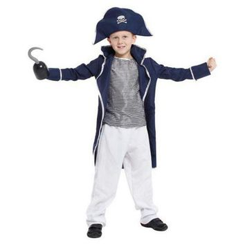 CREY6F Skeleton King Pirate Cosplay Costume For Boys Kids Halloween Pirate Captain Show's Clothing Long Coat+Tops+Trousers+Hat M-XL
