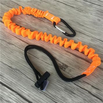 Outdoor Climbing Buckle Retractable Safety Rope Adjustable Sling Strap Nylon Elastic Rope Camping Single Carabiner Tool Lanyard