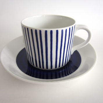 "This is a gorgeous Rorstrand Sweden cup and saucer set in the ""Kadett (Blue)"" pattern, designed by Hertha Bengtsson"