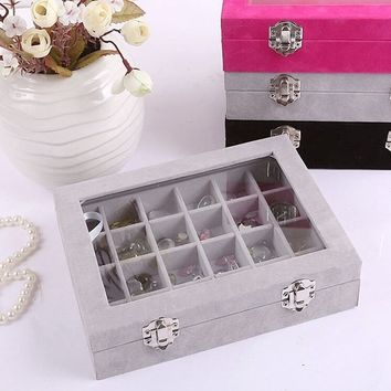 Velvet Earring Display Glass Jewelry Ring Organizer Holder Storage Case 24 slot Box