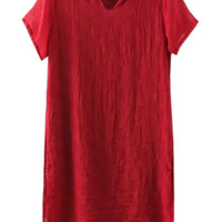 Wine Red V Neck Short Sleeve Double Layered Slit Dress